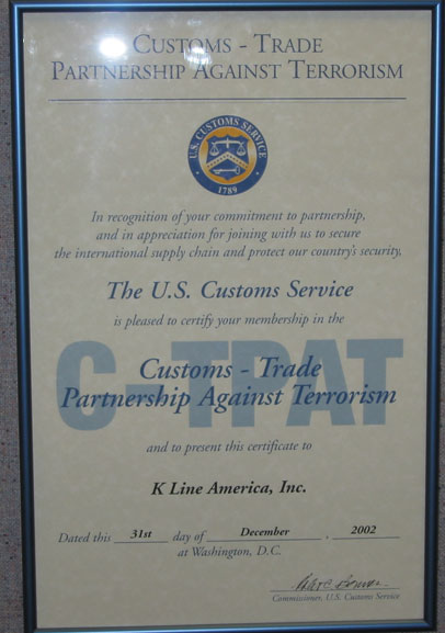 "c–tpat certificate ""k"" line north america security"