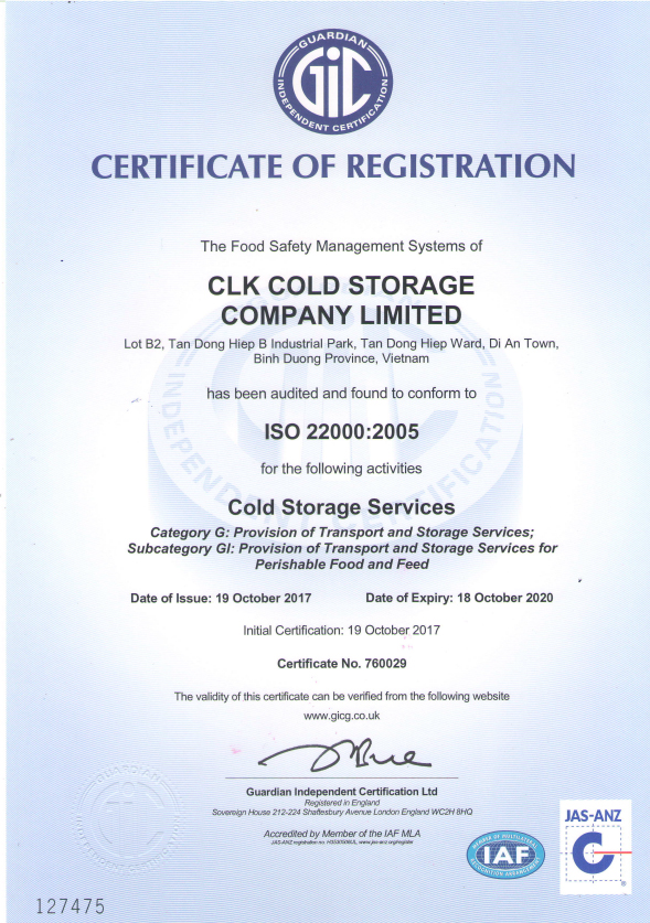 Cold Storage Warehouse In Vietnam Acquires Iso22000 Certification